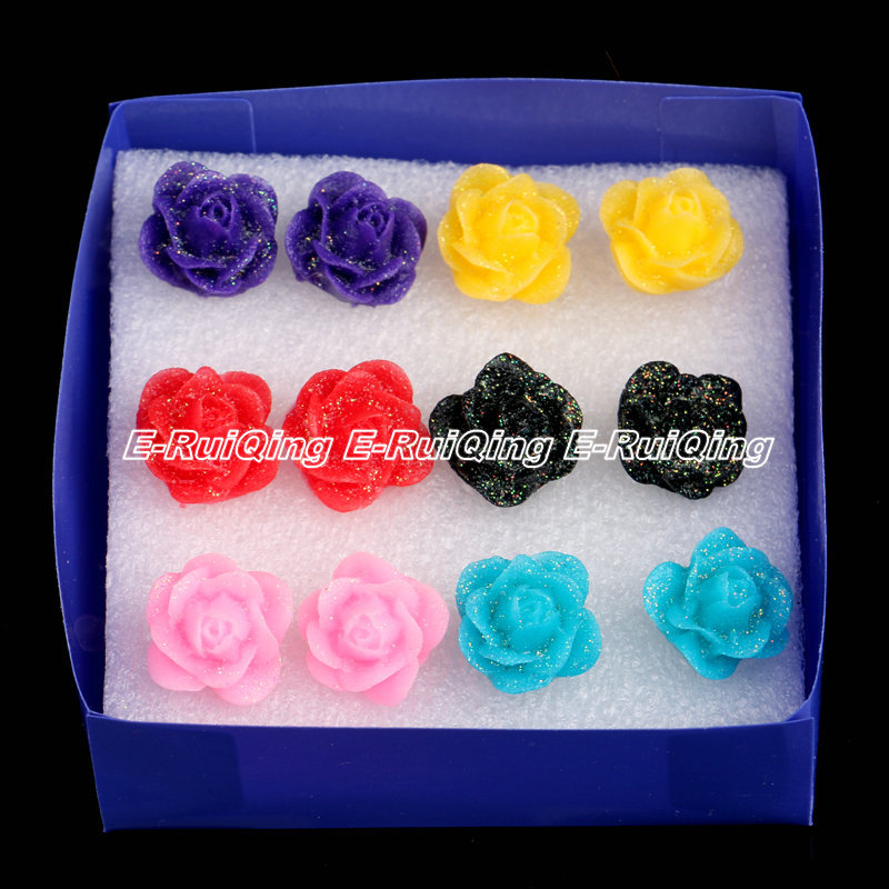 Mixed Lots Colorful Red Pink Yellow Blue Purple Black 6 Pairs Small Resin Rose Flower Stud Earrings Women Lady Fashion Ear Studs(China (Mainland))