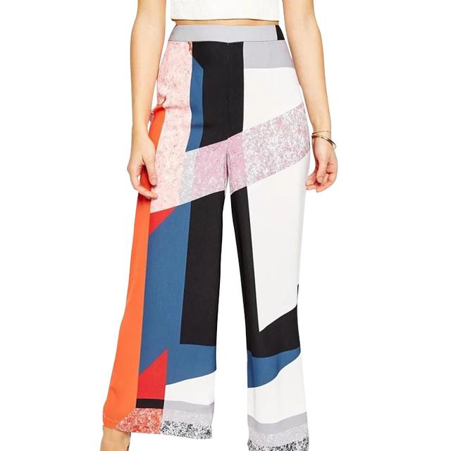 LJ120 Японская Мода 2016 Женщин Старинные Неправильные Геометрические Печати Широкую ...