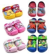Niños jardín zapato de la muchacha hello kitty princesa 3d cartoon patter deslizadores del verano niño bebé agujero playa de mulas zuecos sandalias(China (Mainland))