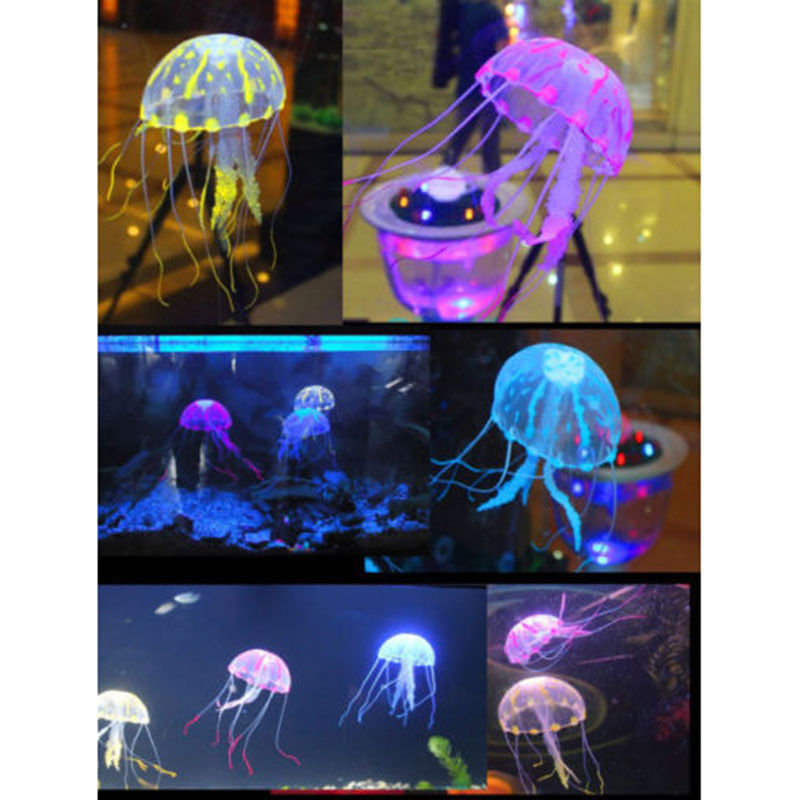 5 5 Glowing Effect Artificial Jellyfish Fish Tank Aquarium Decoration Ornament free shipping