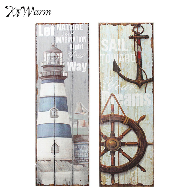 Mediterranean Style Vintage Nautical Wooden Sign Plaque Art Picture Lighthouse Design for Home Wall Decoration Wood Crafts