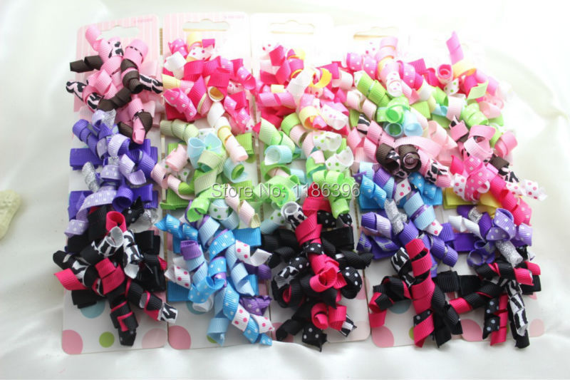 2015 New 40pcs/lot Fashion Baby Girl Hair Bow with Clip High Quality Ribbon Lined Alligator Perfect for Your Children Hairpin(China (Mainland))