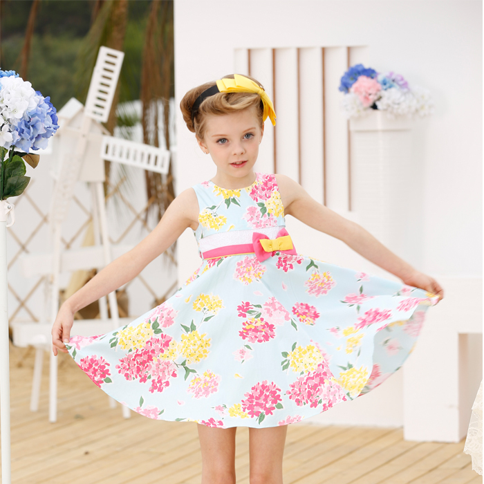 2015 Summer Style Children Clothes Summer dress style 100% cotton printed dress free shipping(China (Mainland))