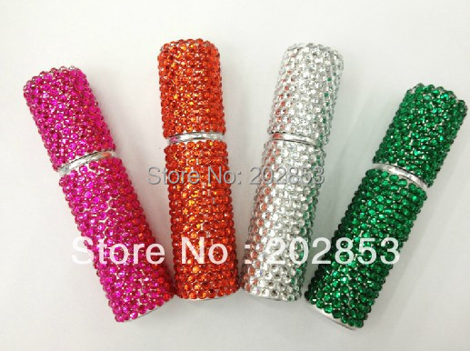 Free Shipping 8ml stick crystal acrylic stone Spray Scent bottle bling bling designs Refillable Anodized aluminum perfume Bottle<br>