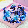 Faashion Bridal Flower Crown Hair Wreath Blue Flowers Wedding Tiara Hair Accessory Weddings Tiara Bridal Tiara