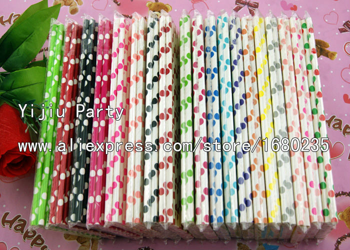 2015 650pcs/lot 19 Kinds Colors and Style Big Polka Dots Paper Drinking Straws For Party Favors Table Decoration Craft Supplies(China (Mainland))