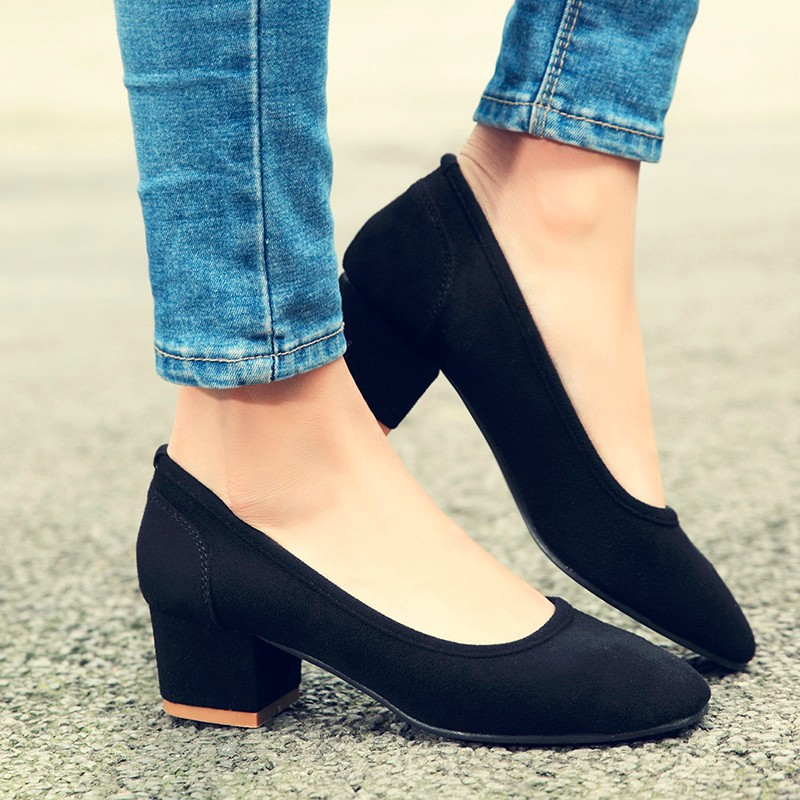 Fashion 2016 new leather women high heels Slip-On thick with Leisure women's shoes Simple popular women high heels Hot Shoes