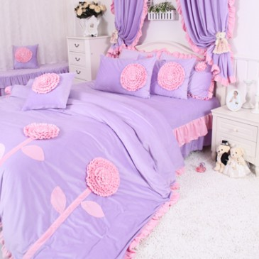 Korean purple pink floral bedding set lavender coral - Purple and pink comforter sets ...