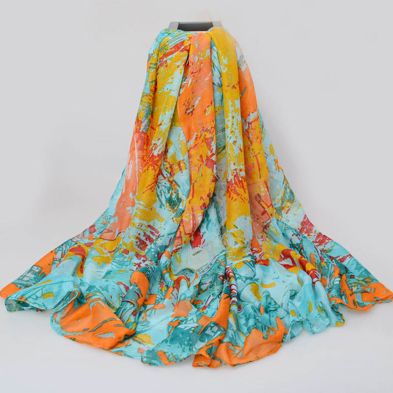 New 2016 Flower fashion brand scarf women Spring and winter thin long scarves shawl cotton voile pashmina(China (Mainland))