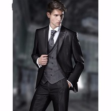 New Arrival Groomsmen Peak Lapel Groom Tuxedos Shiny Black Men Suits Wedding Best Man Blazer (Jacket+Pants+Tie+Vest) B983