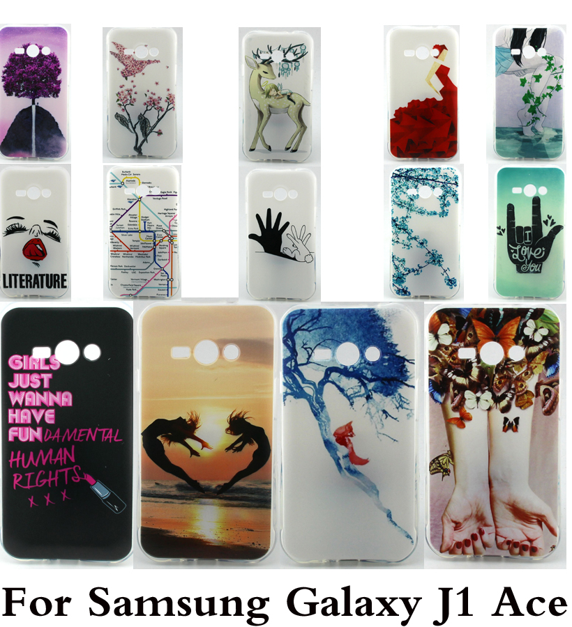 2016 Hot sale soft tpu Cartoon love Case Cover For Samsung Galaxy J1 Ace Phone Cases Back Covers shell(China (Mainland))