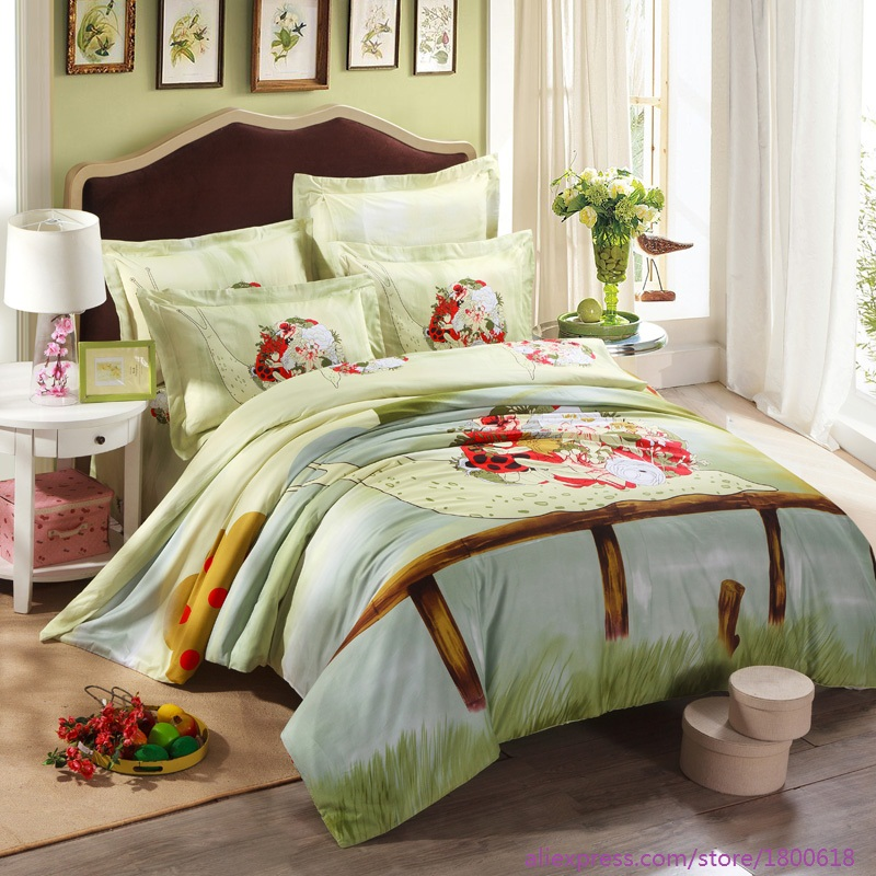 100% cotton 4pcs Bed linen summer Wedding bedding sets Duvet Cover&Bed Sheet green style Comfort Set Hot selling home textile(China (Mainland))