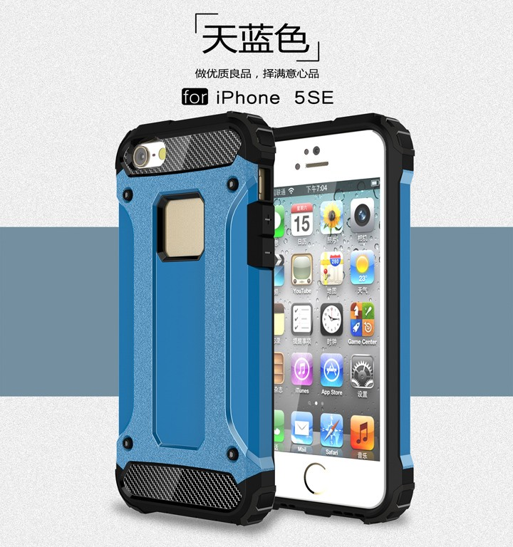 For iPhone SE Diamond Armor Hybrid PC shockproof Case for iPhone 5S 5 TPU Hard Back Cover Case for iPhone 5 5s 10 Colours