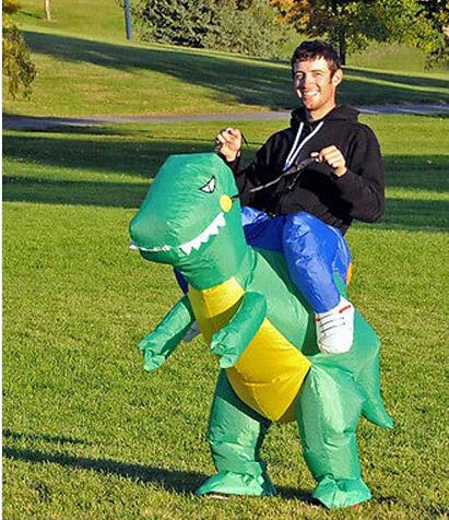 Free shipping Inflatable Dinosaur Costume - Fan Operated Adult Size Halloween Dino Rider T-Rex(China (Mainland))