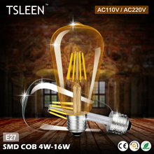Buy TSLEEN Edison LED ST64 4W 8W 12W 16W LED Filament Light 220V 110V Edison Bulbs Retro E27 Glass Lamp Retro Candle Lighting Gold for $1.46 in AliExpress store