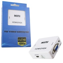 Mini HDMI to VGA Converter With Audio HDMI2VGA 1080P Adapter Connector For PC Laptop to HDTV Projector with HDMI2VGA  Converter(China (Mainland))