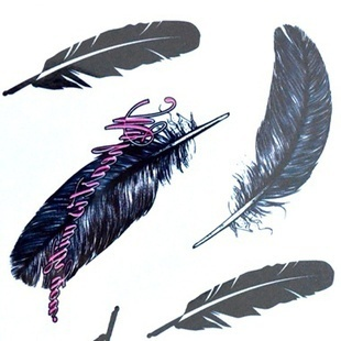 15pcs/Lot, Good Quality black feather Temporary Tattoo or Body Sticker, Nontoxic and Tasteless, Fashion Design , Free Shipping!