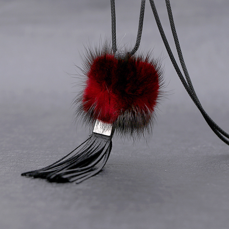 New South Korea sweater chain fashion mink hair bulb pendant long necklace necessary autumn winter Jewelry Accessories<br><br>Aliexpress