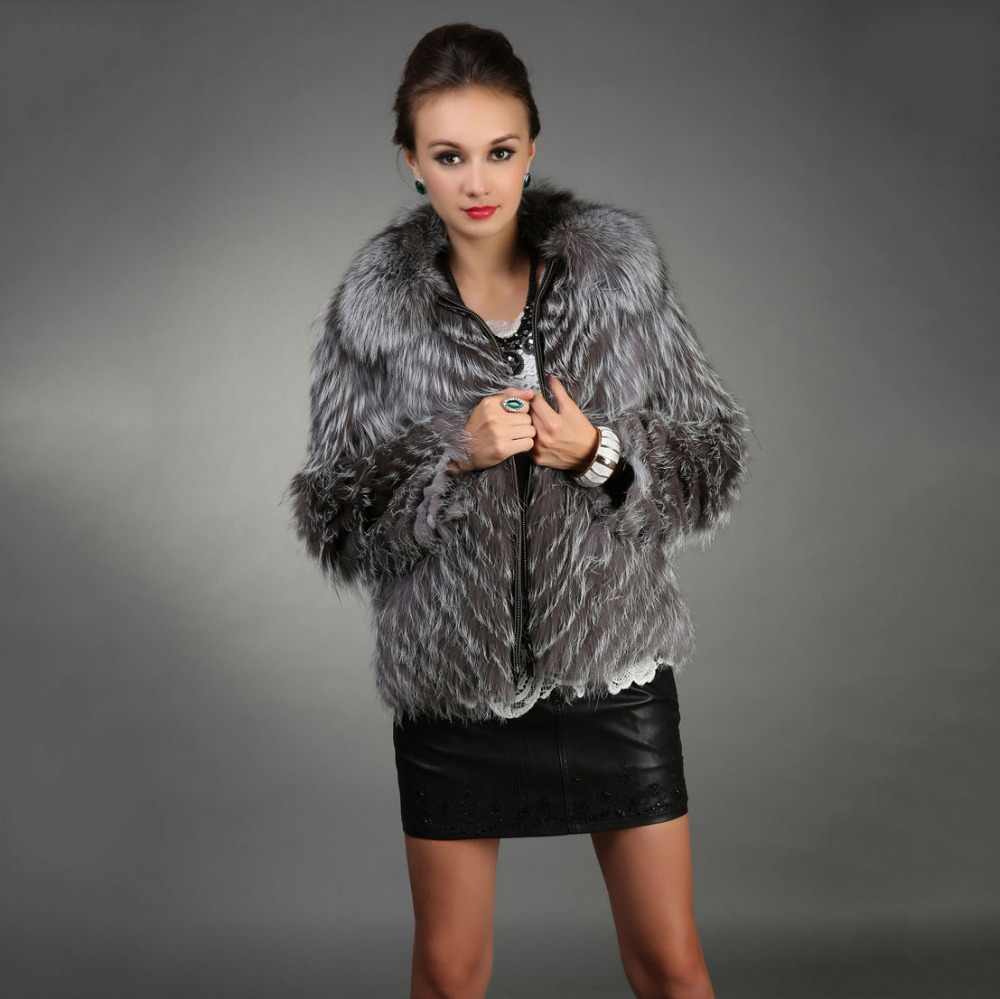 Women Real Silver Fox Jacket Collar Natural Fur Coat Outwear Lady 2015 New Winter Female Genuine Garment Waistcoat