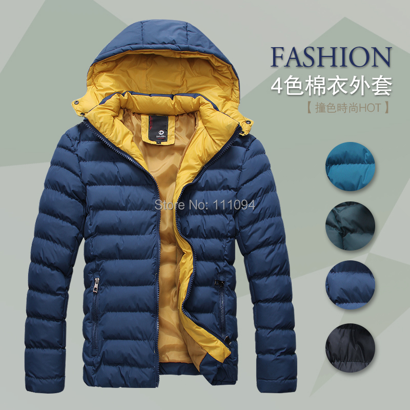 mens winter jacket men's hooded wadded coat thickening outerwear male slim casual cotton-padded outwear - Men's clothing base store