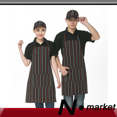 2015 New Style Red White Black Stripe Cotton Halter Kitchen Apron For Women Men Long Chef Apron in aprons(China (Mainland))