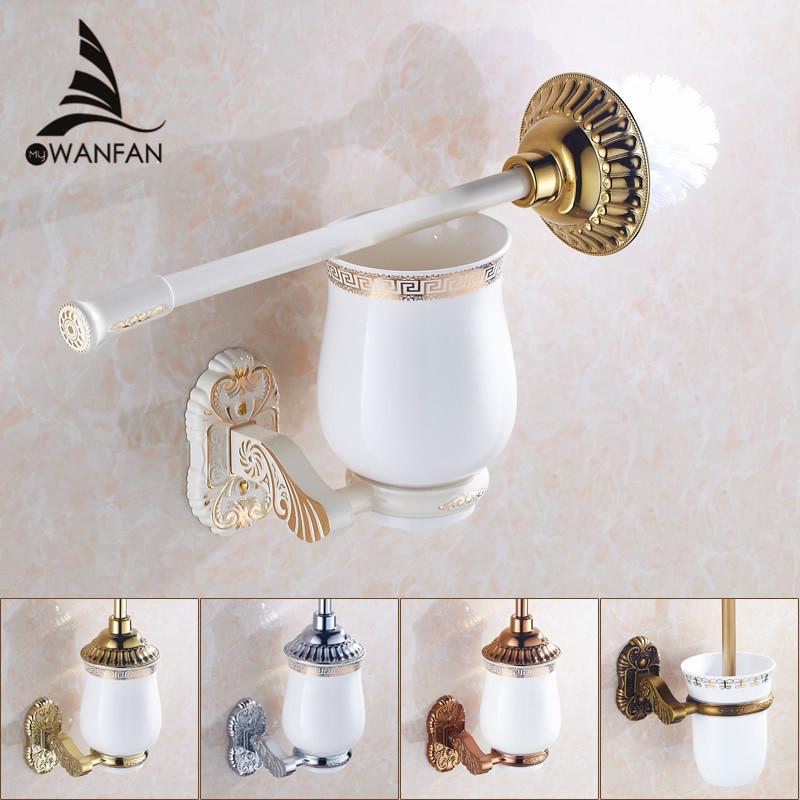 Free Shipping European Style Antique Toilet Brush Holder Wall Mounted Bathroom Brush Holder Set Bathroom Accessories 7610(China (Mainland))