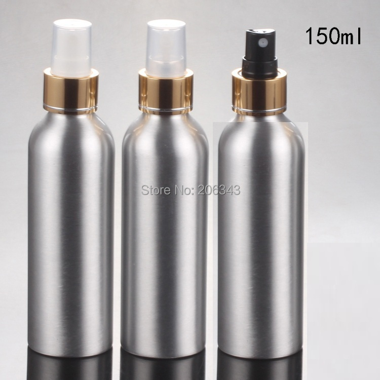 100pcs 150ml Aluminium bottle metal bottle with  gold collar white/black/transparent  mist sprayer pump
