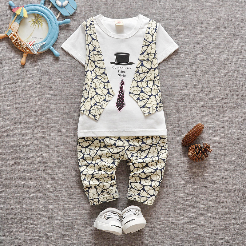 Clothes Sets For Baby Boy Gentleman Suit Tie 2016 Spring Autumn Short Sleeve Print 2PCS Set Infant Baby Party Clothing Gift(China (Mainland))