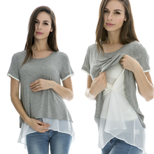 Maternity Nursing Tops Breastfeeding clothes for Pregnant Women Fashion False two Pieces Chiffon Double Layer Summer Tee 3 color(China (Mainland))