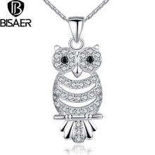 BISAER New Retro Owl Pendant Necklace Long Fashion Zircon Owl 18K White Gold Plated Collection Jewelry Nigerian wedding Crystal(China (Mainland))