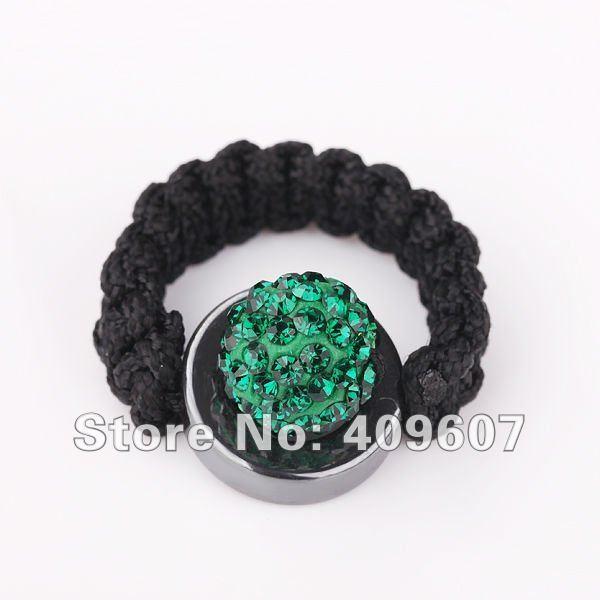 Latest design! 2012 fashion tresor paris collection shamballa rings jewelry dark green 10mm pave disco ball free shipping XBR015