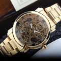 New Luxury Golden Mechanical Automatic Wrist Watch Rome Number Men Stainless Steel Band Skeleton Dial Mens