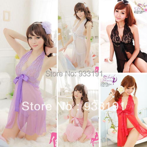 Womens Lingerie+G string Thongs See Through Costume Sexy Nightdress(China (Mainland))