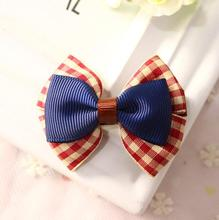 Classic Kid Girls Toddler Brown Ribbon Hairbow with Cute Plaid Ribbon Summer Hairbows