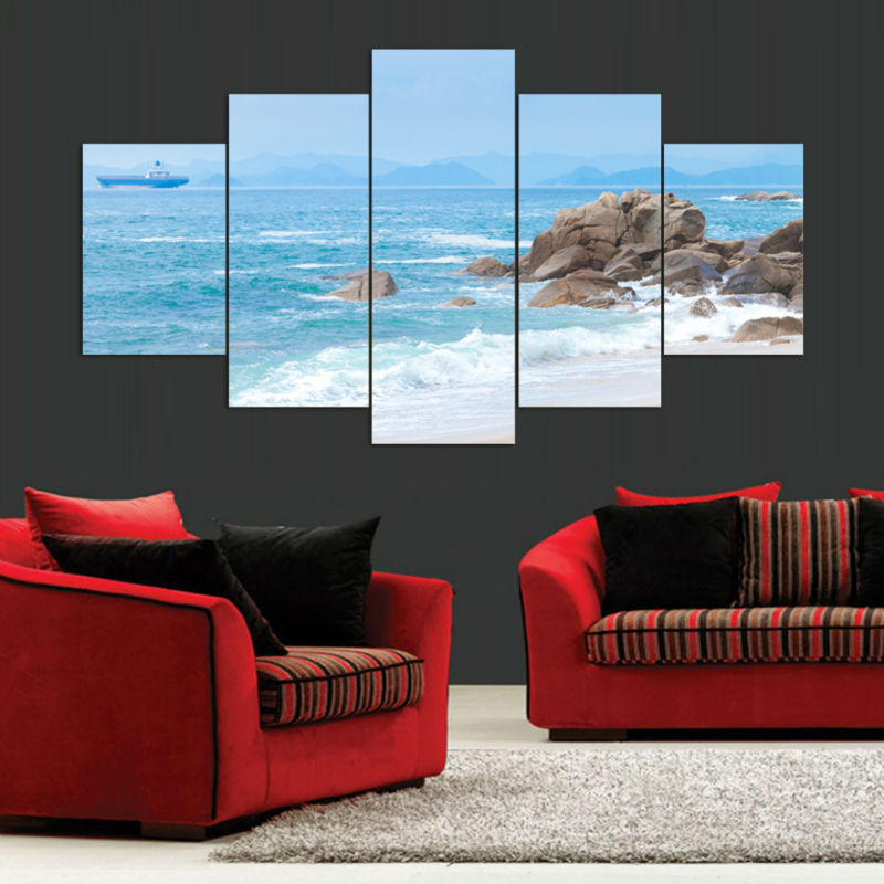 5 Panel Wall Art Modern Abstract Painting Sea Beach Canvas Picture Wall Pictures Artwork Print On Canvas Abstract Framed F/1125(China (Mainland))