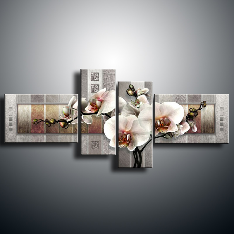 Modern Wall oil butterfly orchid home decorative art painting paint canvas FL4-201 - xin da fen oilpainting Store store