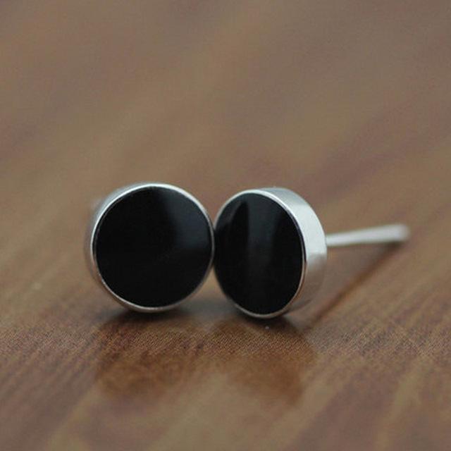 Высокое качество серебряные серьги для мужчин и женщин в черный эпоксидной идеальный ...