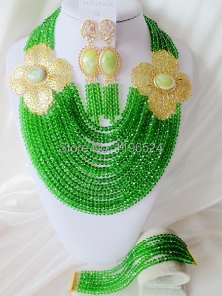 Здесь можно купить  Luxury green Crystal Necklaces Bracelet Earrings African Nigerian Wedding Beads Jewelry Set  A-7607  Ювелирные изделия и часы