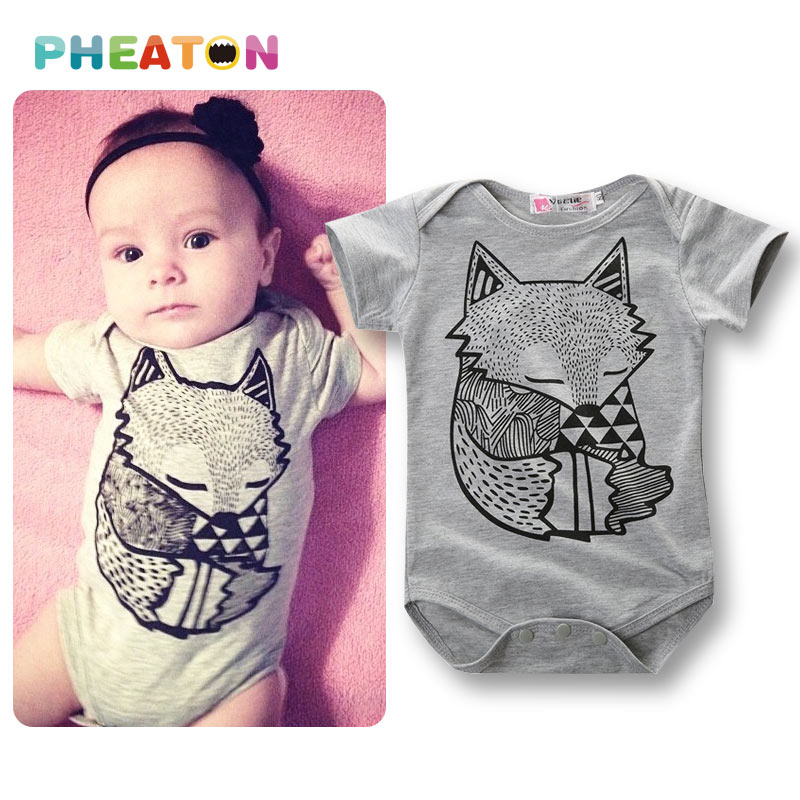 Fox Printing Baby Clothes Cute Cartoon Baby Rompers Short Sleeve Jumpsuit Newborn Baby Romper One Piece Baby Clothing