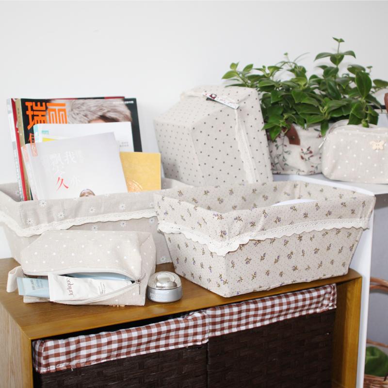 Cotton lace decorative storage box desktop storage baskets(China (Mainland))