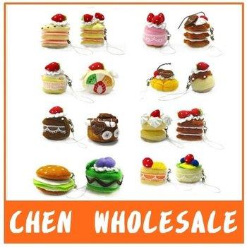 160pcs/Lot  Wholesale Fruit Cake Plush Cellphone Charm, Cake Charm,Mobile Phone Strap
