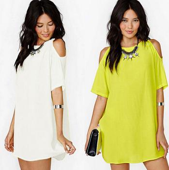 Плюс 3xl лето стиль женщины марка шифон мини платье рукавом блудниц пляж платье свободного покроя с плеча платья твердые одежда vestido