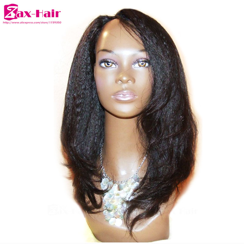 Stocked u part wig virgin human hair wigs Yaki kinky straight middle/ left/ right #1 #1b #2 jet balck for black women 10-26 inch