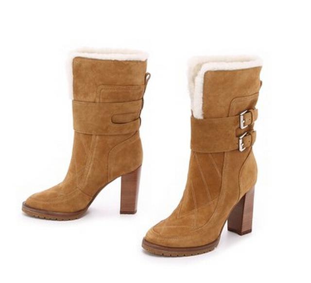 2015 зимняя коллекция новинка теплой меховой плюшевая подкладка колен-высокие ботинки женщин туфли-botas двойной būklės квадратных высокие каблуки женская обувь