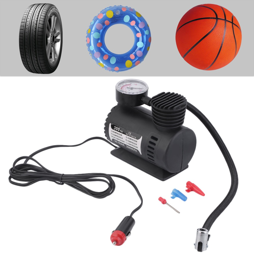 New12V 300PSI Car Bike Tire Tyre Inflator Pump Toys Sports Electric Pump Portable Mini Compact Compressor Pump Tyre Air Inflator<br><br>Aliexpress