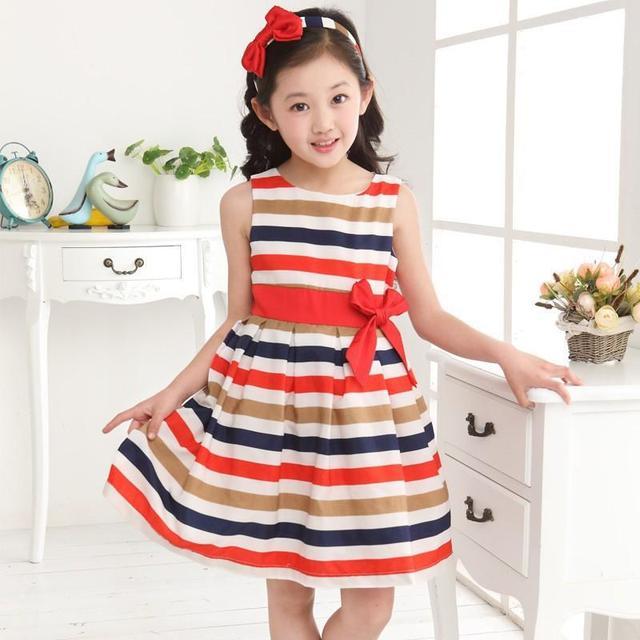 2016 дети дети юбка большой девственный источники платье большой бант радуга полосатый хлопковое платье девушки