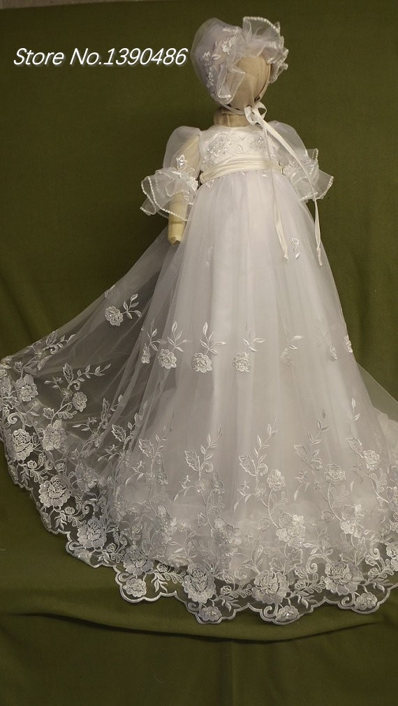 Elegant baby baptism christening gowns sheer tulle puffy for Making baptism dress from wedding gown