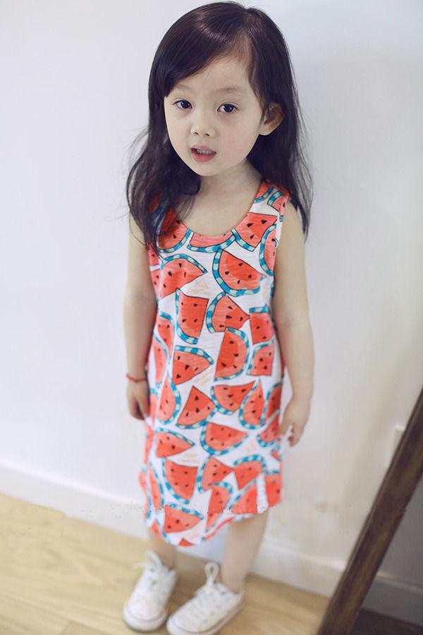 Горячая распродажа детские ребенка девушки фрукты арбуз печать бантом цельный Gwon платье 2-7Y
