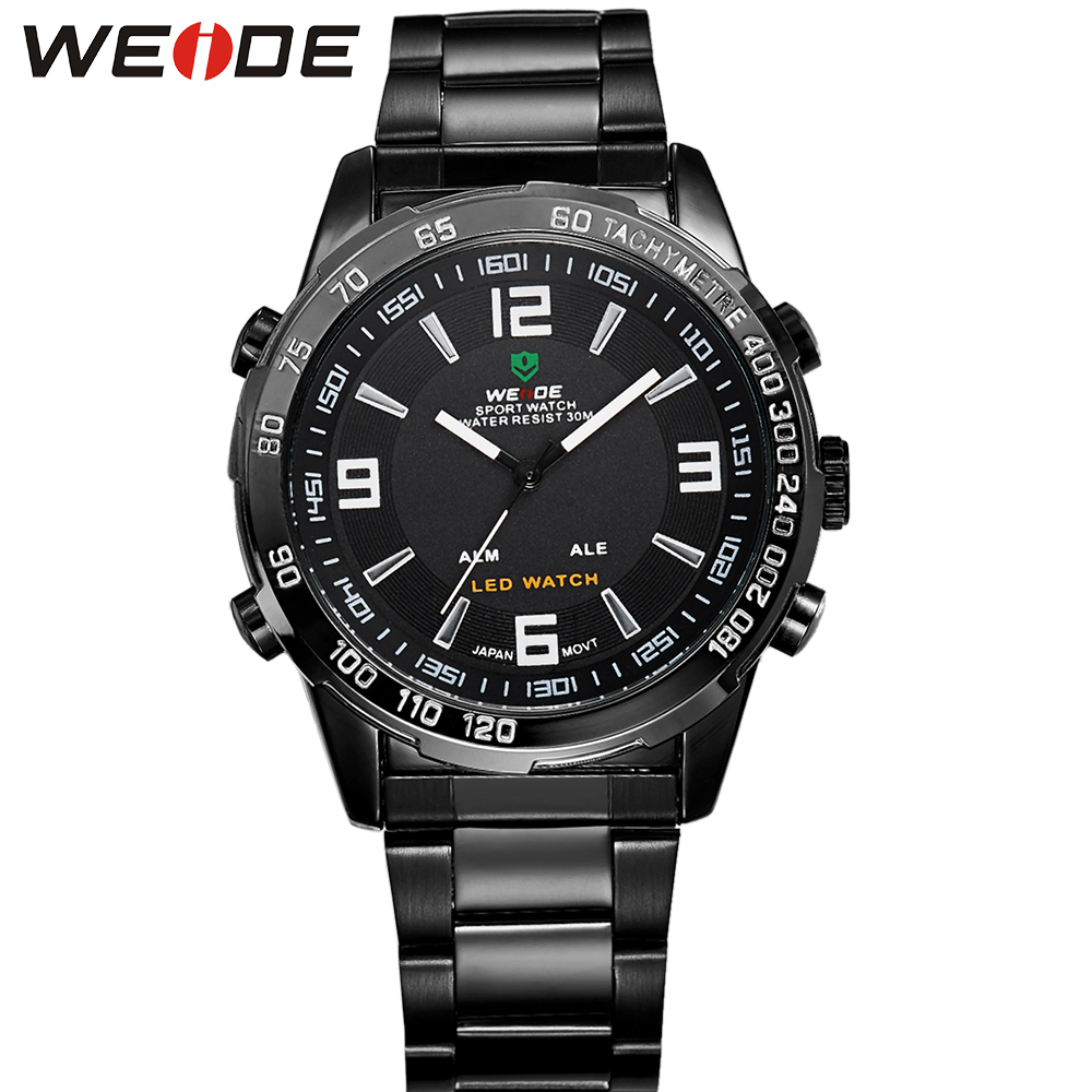 WEIDE Men's Casual Watches Brand Stainless Steel Wrist Band Analog Auto Date LED Quartz Clock Movement Popular Products For Mens(China (Mainland))