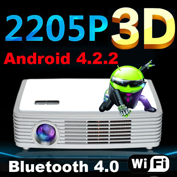 Android 2205P Blue-ray DLP Shutter 3D HD 4K Multimedia Home cinema video projector projektor proyector beamer projetor HDMI USB(China (Mainland))